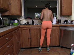 busty maid mercedes carrera cleaning the kitchen