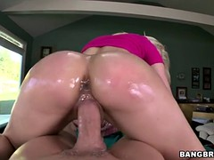 Oiled Big Ass Anikka Albrite Rides Hard Cock