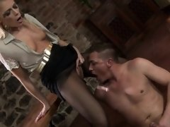 Surprised model in lingerie is geeting peed on and rode