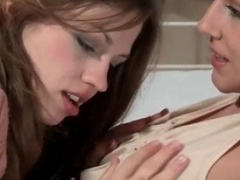 Sexy brunette lesbians get aroused blowing off