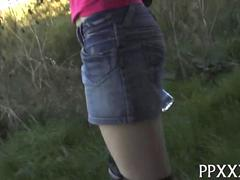 Skinny roller blade girl gets fucked out in public