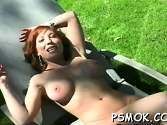 Older slut blows a guy whilst smokin' a cigarette