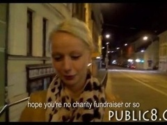 Hot inexperienced blonde paid to show her bra buddies and moreover have rectal sex with a stranger in a public place