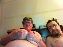Thick bitch with big natural boobs rides fat dick and takes