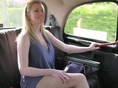 HornyTaxi Blonde with huge natural titties makes additional cash