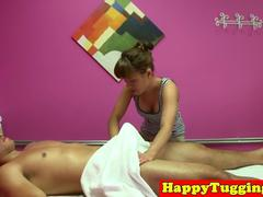Real asian massage babe tugging her client