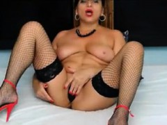 Big breasted milf in stockings drills her tight holes on th