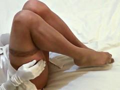 Cum on flesh-colored pantyhose feet