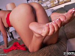 Brunette With Playful Feet In Action