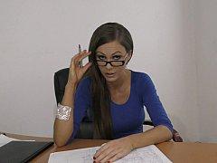 Brunette brune, Lunettes, Bureau, Pov, Secrétaire