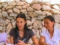 Extreme handballing lesson with two glamours lesbians from Russia