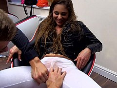 Excited babe gets fisted by her buddies