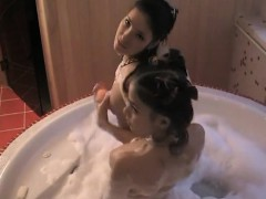 Lesbian teen shower sceene at home
