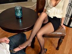 black pantyhose footjob in office