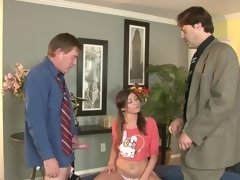 Super cute Victoria Lawson fucks two older men
