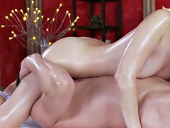 Blonde cutie got anal licked by masseur