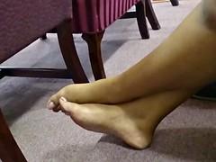 My Friend's Candid Beautiful Ebony Feet in Church 10