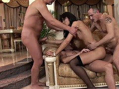 Euro slut gets DP and ass fucked by 3 guys