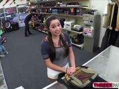 Hot natural busted college girl sells an exotic dance at pawn shop