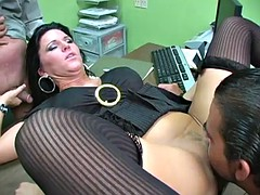 sophisticated brunette milf in a threesome office action