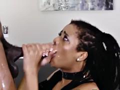 throating ebony jizzed