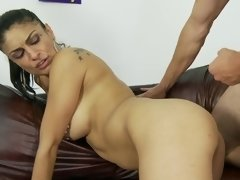 A brunette that has a juicy and firm ass is getting fucked