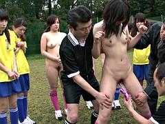 Morena, Grupo, Japonés, Al aire libre, Deporte, Adolescente, Tetas, Juguetes