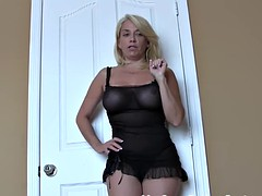 Swallow your own cum for the horny neighbor girl CEI