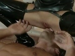 Slim blonde, ankle boots and additionally latex stockings gets fucked