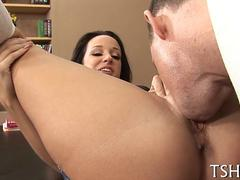 rubbing on her wet vagina and she gets fucked fantastically