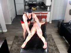 Slut redhead oil massage on webcam