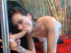 brown-haired with fake penis deep throat and deep-throat hookup flicks