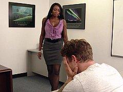黒人, フェラチオ, 黒人, 女, 異人種間, 淫乱熟女, オフィス, 教師