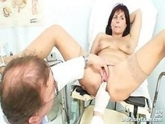 Old Livie vagina audit by aroused kinky gyno doctor