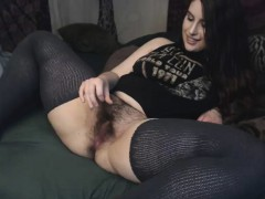 Brunette with hairy pussy fucks in white stockings
