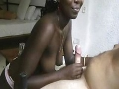Inexperience ebony kitten giving a blowjob cock. admire