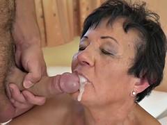 mature granny gets facial
