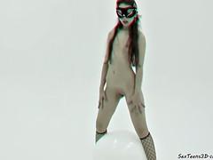 Masked girl posing in studio - 3D porn backstage