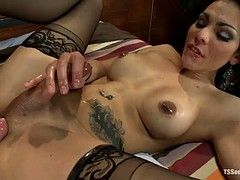 tattooed tranny and horny dude take turns to suck and fuck each other