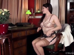 Brianna Green strips and gets naked in her study