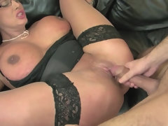 Busty mature cougar in stockings Emma Butt rides dick