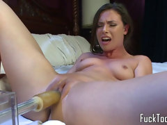 big-chested amateur pounded by faux-cock machine