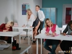Pervert teacher Amber Jade gets fucked by horny student