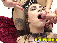 Premium mass ejaculation - Kira gulps 87 thick mouthful cum loads