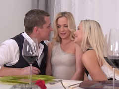 Dinner Orgy: Threesome Makes Him Cum On Two Hot Blondes