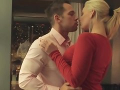 Blonde in red seduced a married guy