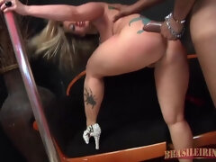Tattooed Latina whore stripper with thick fat ass and big fake tits fucked after dancing