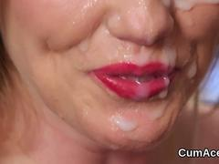 Flirty peach gets sperm shot on her face swallowing all the cream