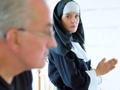 Lucky old man is pounding a lustful young nun Diore from behind