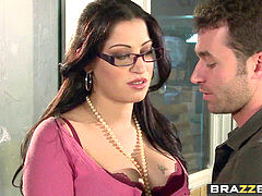 huge knockers at Work - You fuck My Son You Are Fired scene starring Daisy Cruz and James Deen